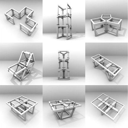 図10. 9つの正方形による立体的な構成