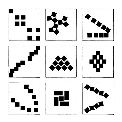 図9. 9つの正方形による平面的構成の演習(bauhaus)